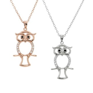 Eternally Haute Sterling Silver Pave Owl Necklace