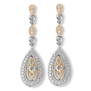 Avanti 14k Two-tone Gold 3/8ct TDW Diamond Teardrop Chandelier Earrings (H-I, SI1-SI2)