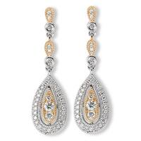 Avanti 14k Two-tone Gold 3/8ct TDW Diamond Teardrop Chandelier Earrings