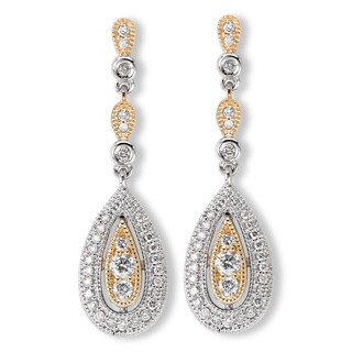 Avanti 14k Two-tone Gold 3/8ct TDW Diamond Teardrop Chandelier Earrings