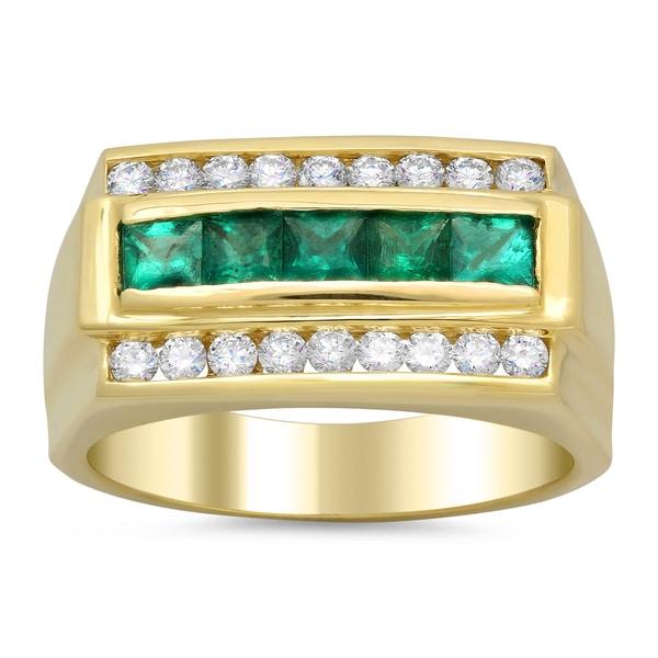 14k Yellow Gold Men S 3 5ct Diamond And 1 Ct Emerald Ring
