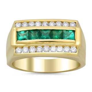 14k Yellow Gold Men's 3/5ct. Diamond and 1 ct Emerald Ring (F-G, SI1-SI2)