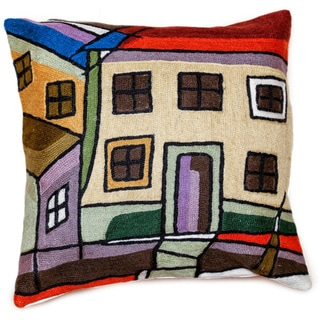 Handmade Town Square Wool Embroidered Accent Pillow Cover (India)
