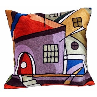 Town Arch Wool Embroidered Accent Pillow Cover (India)