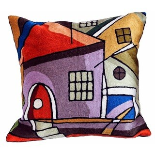 Handmade Town Arch Wool Embroidered Accent Pillow Cover (India)