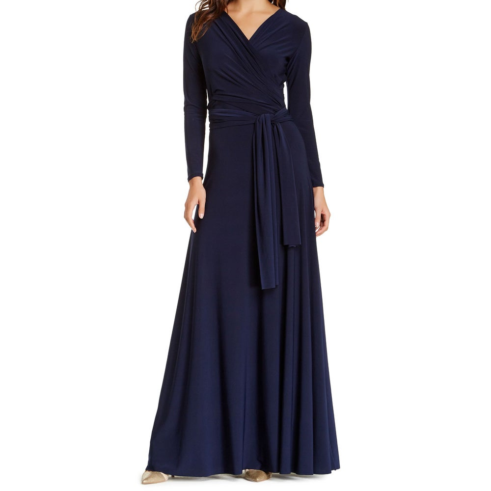 Von Ronen Womens Long Sleeve Convertible Front-to-Back Maxi Dress Cocktail Gown