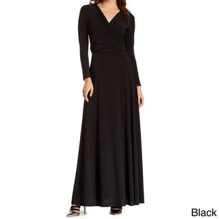 Women's Long Sleeve Convertible Front-to-Back Maxi Dress Cocktail Gown
