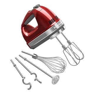 KitchenAid KHM926CA Candy Apple Red 9-speed Digital Hand Mixer with Turbo Beater II Accessories Pack