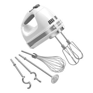 KitchenAid KHM926WH White 9-speed Digital Hand Mixer with Turbo Beater II Accessories Pack