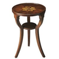Round Cherry Finish Accent Table