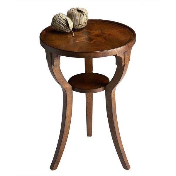 Handmade Round Wood Burl Accent Table. Opens flyout.