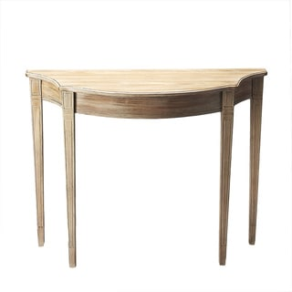 Pembroke-inspired Demilune Driftwood Finish Console Table