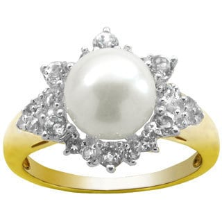 Pearls For You Gold over Silver White Freshwater Pearl and White Topaz Ring (8-9 mm)