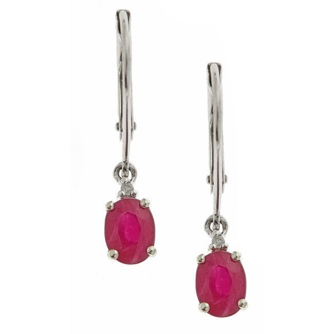 Anika and August 10k White Gold Ruby with Diamond Fashion...