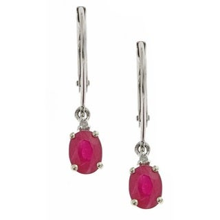 Anika and August 10k White Gold Ruby with Diamond Fashion Earring (G-H, I1-I2)
