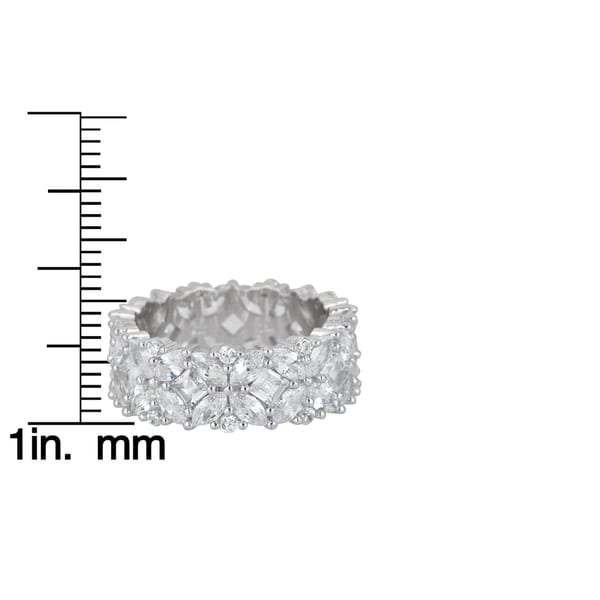 White CZ Micro Pave Wide Filigree Ring New .925 Sterling Silver Band Sizes 5-9