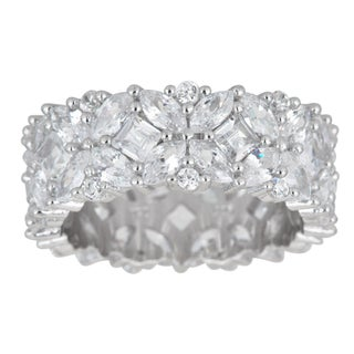 Decadence Sterling Silver Fancy Multi-cut Cubic Zirconia Eternity Ring (4 options available)