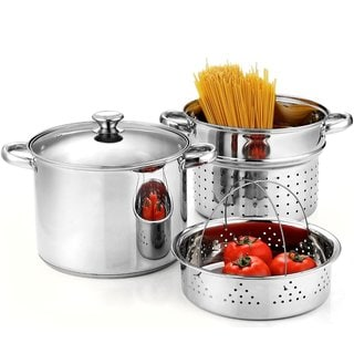 Cook N Home Stainless Steel 4-Piece Pasta Cooker/ Steamer Multi-pots with Encapsulated Bottom, 8-Quart
