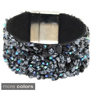 Bleek2Sheek Gemstone and Crystal Magnetic Cuff Bracelet