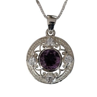 Sterling Silver Filigree Round-cut Amethyst and Cubic Zirconia Necklace (Thailand)