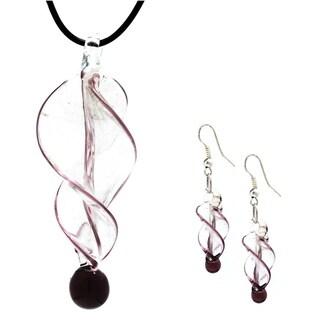 Bleek2Sheek Murano-inspired Twirl Glass Pendant and Earring Set