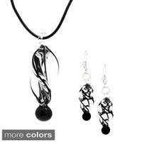 Bleek2Sheek Twirl Glass Pendant and Earring Set