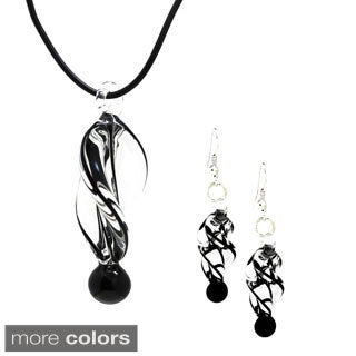 Bleek2Sheek Twirl Glass Pendant and Earring Set