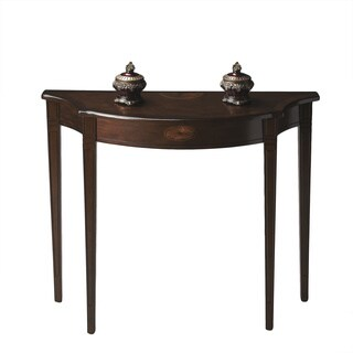 Pembroke-inspired Demilune Espresso Finish Console Table