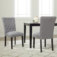 Monsoon 'Sopri' Upholstered Walnut Wood Dining Chairs (Set of 2)