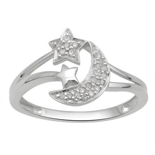 Divina Sterling Silver 1/10ct TDW Diamond Celestial Star and Moon Ring (H-I, I2-I3)