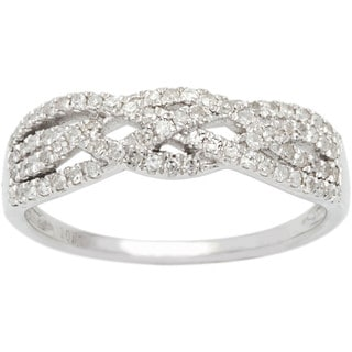 10k White Gold 1/2ct TDW Paved Diamond Weave Band