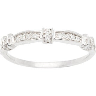 10k White Gold 1/5ct Contoured Diamond Band (G-H, I1-I2)