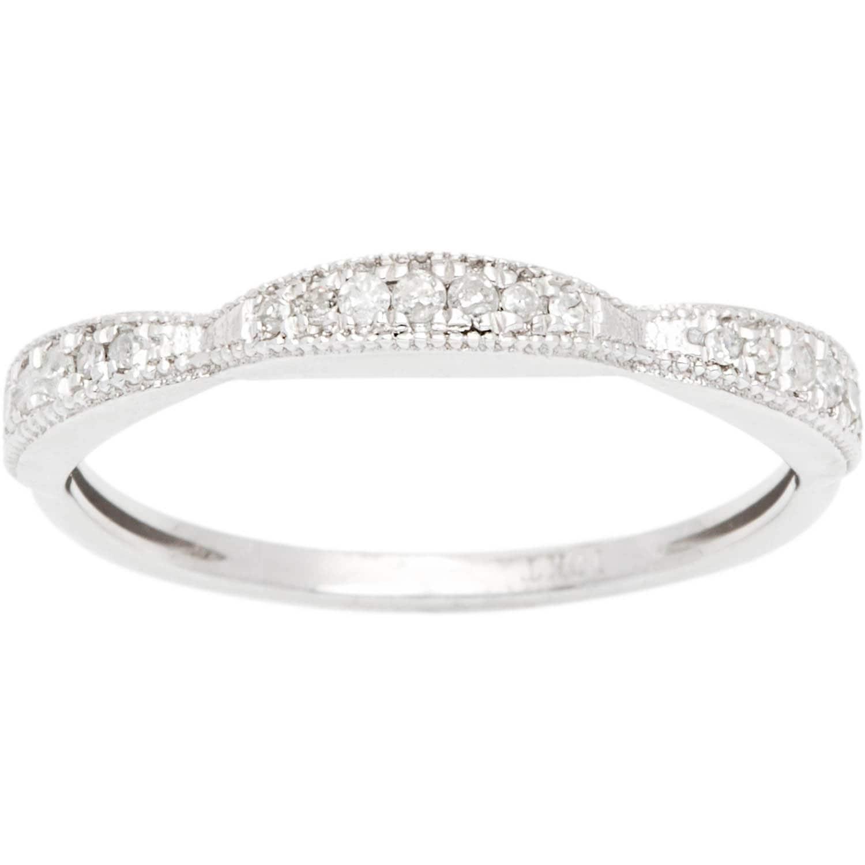G-H, I1-I2 10k White Gold 1//5ct Contoured Diamond Wedding Band