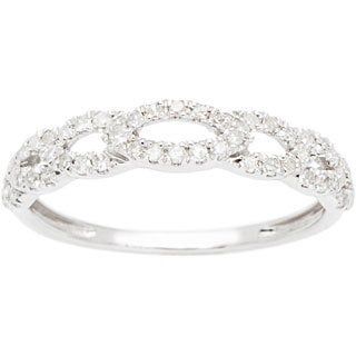 10k White Gold 1/3ct TDW Pave Diamond Links Band (G-H, I1-I2)