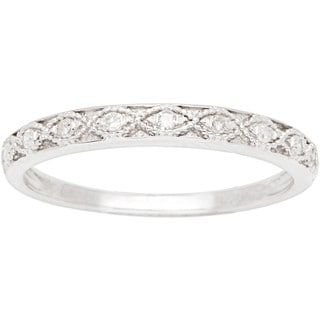 10k White Gold 1/10ct Milgrain Pave Diamond Band