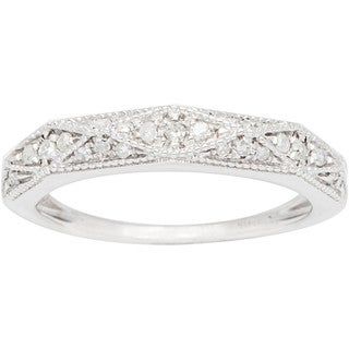 10k White Gold 1/3ct White Diamond Pave Milgrain Band
