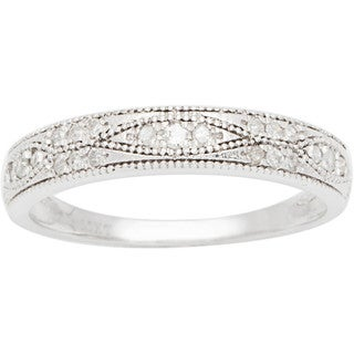 10k White Gold 1/4ct Pave Milgrain Diamond Band (G-H, I1-I2)