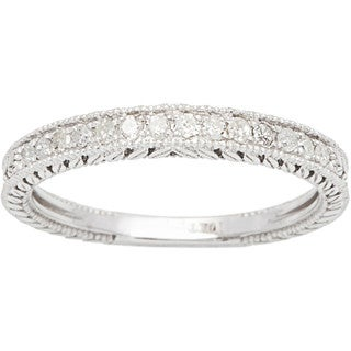 10k White Gold 1/4ct Vintage Style Engraved Diamond Band (G-H, I1-I2)