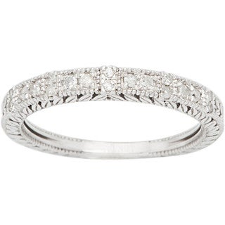 10k White Gold 1/3ct Vintage Style Engraved Diamond Band