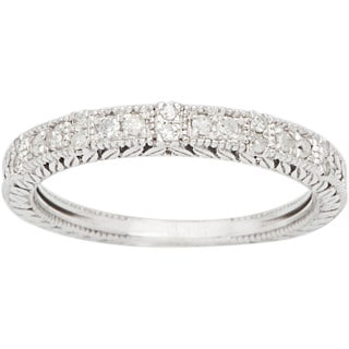 10k White Gold 1/3ct Vintage Style Engraved Diamond Band (G-H, I1-I2)