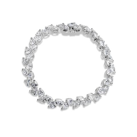 SummerRose 18k White Gold 18 7/8ct Pear-cut Diamond Tennis Bracelet