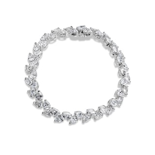 SummerRose 18k White Gold 18 7/8ct. Pear-cut Diamond Tennis Bracelet (G-H, SI2-I1)