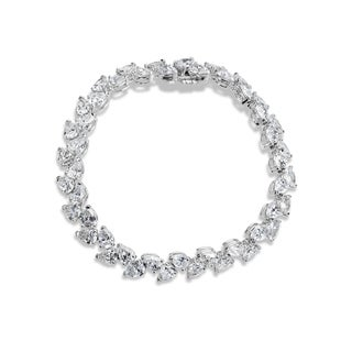 SummerRose 18k White Gold 18 7/8ct. Pear-cut Diamond Tennis Bracelet