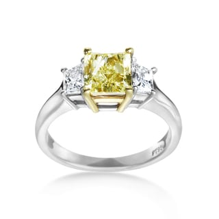 SummerRose Platinum/ 18k Gold 2 1/3ct. Yellow Diamond Ring