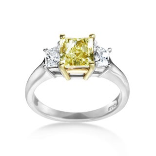 SummerRose Platinum/ 18k Gold 2 1/3ct. Yellow Diamond Ring