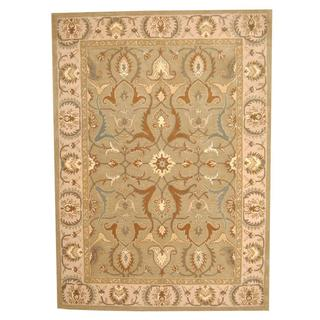 Herat Oriental Indo Hand-tufted Persian Isfahan Design Light Green/ Beige Wool Rug (8' x 10')