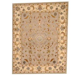 Herat Oriental Indo Hand-tufted Persian Isfahan Design Gray/ Beige Wool Rug (8' x 10')