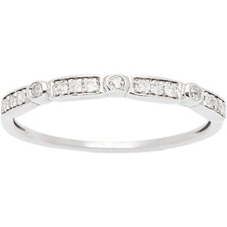 10k White Gold 1/6ct TDW Pave Diamond Vintage-styled Stackable Ring