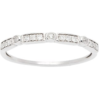 10k White Gold 1/6ct TDW Pave Diamond Vintage-styled Stackable Ring (G-H, I1-I2)