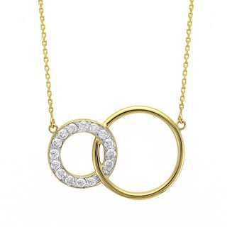 Beverly Hills Charm 10k Gold 1/4ct TDW 'Together Forever' Interwined Circles Diamond Necklace (H-I, I2-I3)